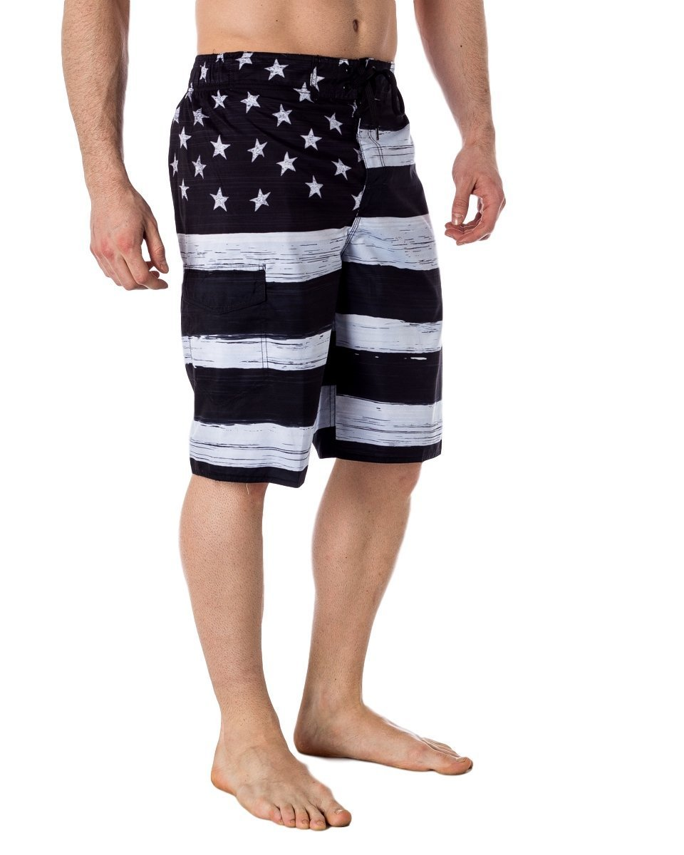US Apparel Men's American Flag Inspired Board Shorts Denim