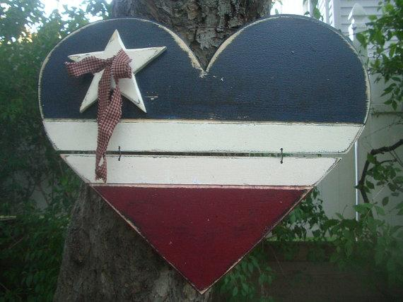 USA AMERICANA HEART Patriotic Ship Boat Personalized Country Rustic Primitive Distressed Handmade & Painted God Bless America Sign Plaque
