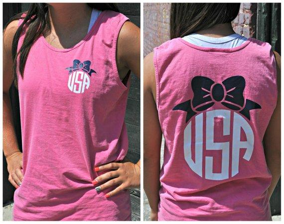 USA Bow Comfort Colors Tank - Memorial Day - Labor Day - Independence Day - July 4th