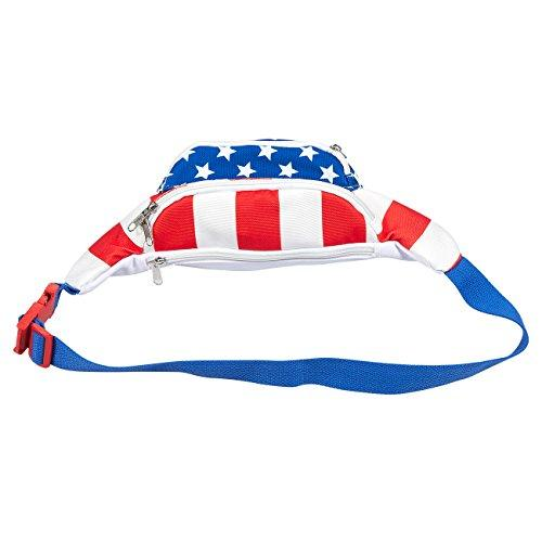 USA Fanny Pack - American Flag Fanny Pack, Patriotic Waist Bag for Vacations, Special Events, Daily Use - 15 x 4.5 x 3 Inches