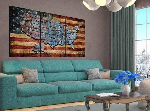 USA Flag Wall Art,US Flag and Map Art,US Flag Canvas,United States Map Art,American Art,Flag,American Flag Wall Art,United States Map,Us Map