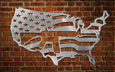 USA map / flag with AR15 cut out of it. metal art. aluminum