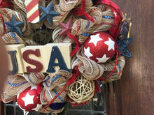 USA Patriitic Khaki Mesh Wreath