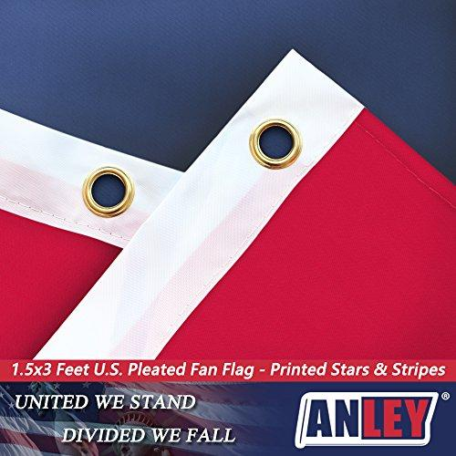 USA Pleated Fan Flag, ANLEY 1.5x3 ft American US Bunting Flag Patriotic Stars & Stripes - Sharp Color and Fade Resistant - Canvas Header and Brass Grommets - United States 1.5 x 3 Feet Half Fan Banner