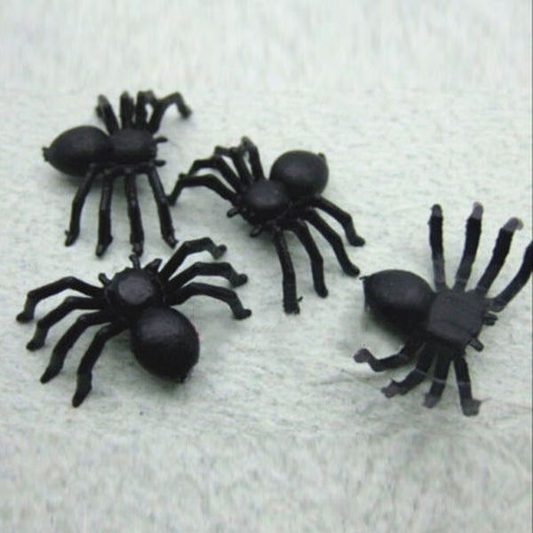 Useful 50pcs 2*1.4cm Plastic Black Spider Halloween Decoration Festival Supplies Funny Prank Toys Decoration Realistic Prop