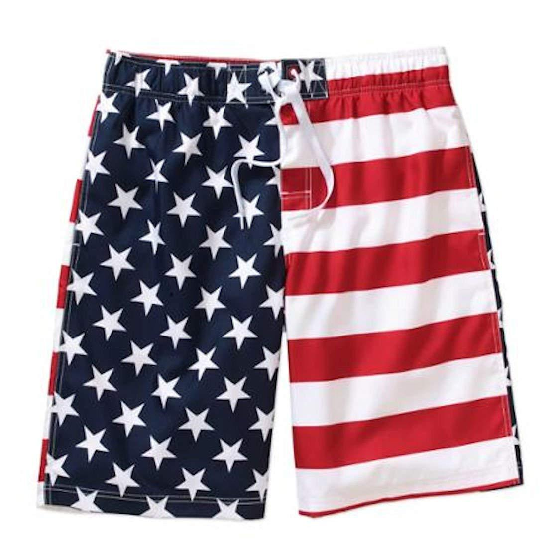 UZZI Men's Faded Patriotic Glory USA American Flag Swim Trunks