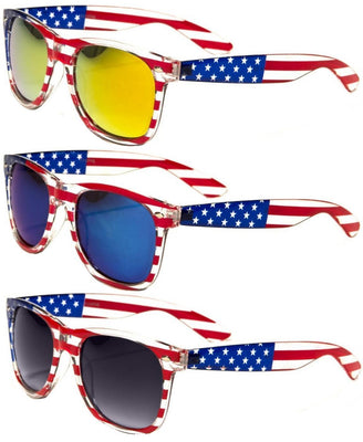 V.W.E. Classic American Patriot Flag Mirror Sunglasses USA