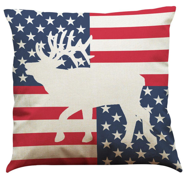 Vintage American Flag Pillow Cases Cotton Linen Sofa Cushion Cover Home Decor