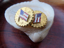 Vintage Gold Toned American Flag Patriotic Old Glory America U.S.A. Cufflinks Cuff Links
