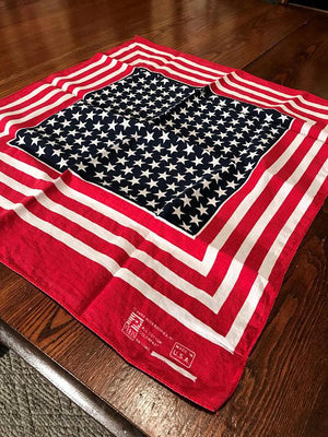 Vintage Patriotic American Flag PARIS Color Fast Bandanna/Handkerchief