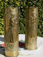 Vintage WW1 American Trench Art Shell Cases.  Militaria World War 1.  Antique Brass Artillery Shell Case Vases. Sweet Hearts. Remington Gun.