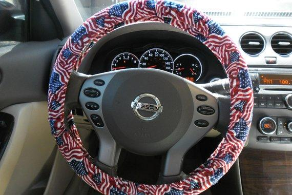 Wavy American Flag Steering Wheel Cover, Red, White, and Blue Wheel Cover