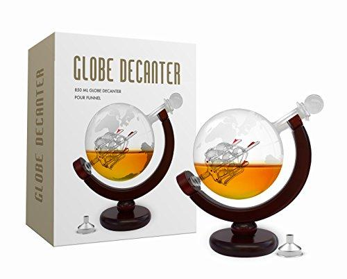 Decanter 850 ml with metal funnel Whiskey Decanter Set World Etched Globe Decanter Antique Ship Glass Stopper Pour Funnel Liquor Dispenser Spirits Scotch Bourbon Vodka Rum Brandy Perfect Gift