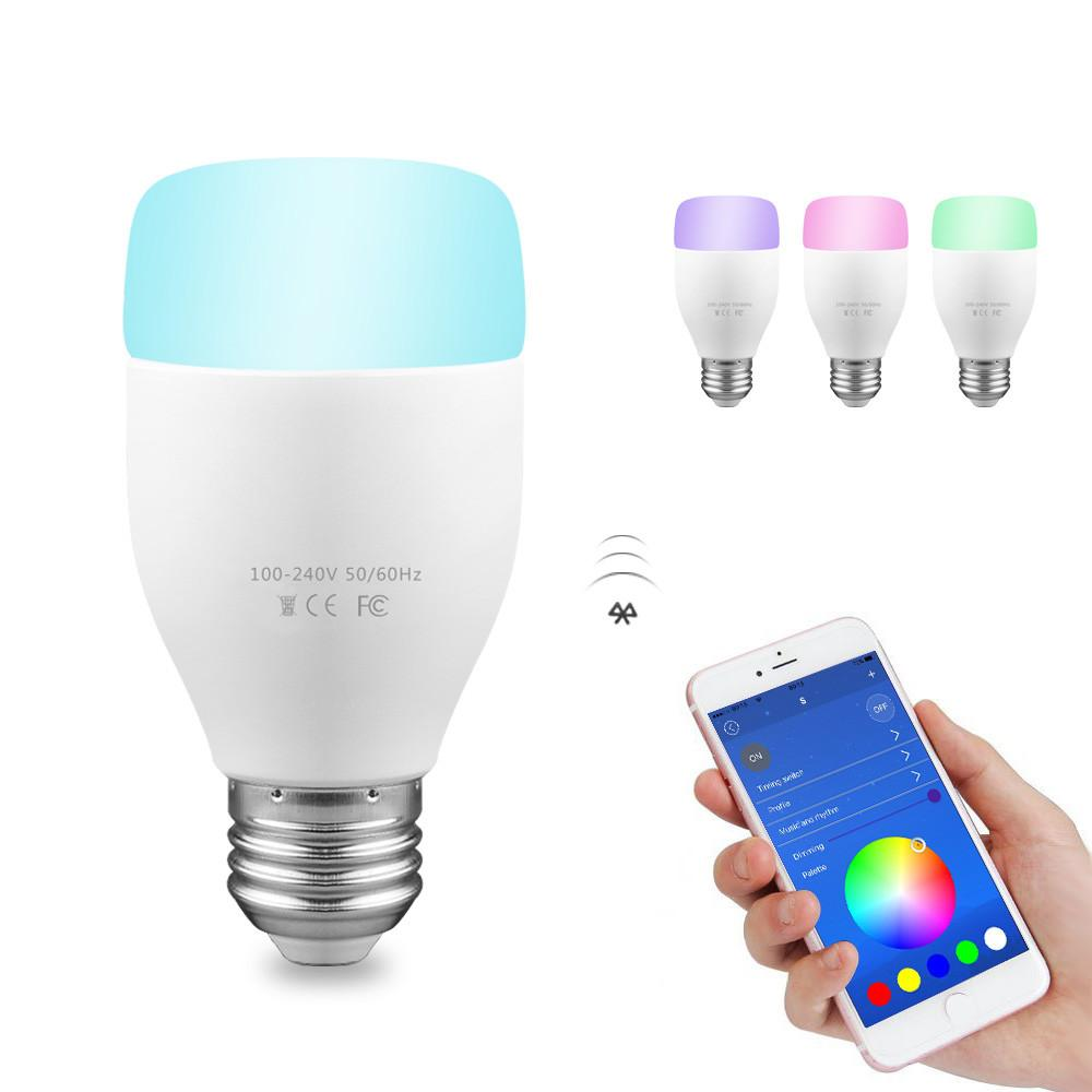 WiFi Smart Bulb 6W E27 RGBW LED Light Support Remote Control / E* Voice Control / Music Rhythm / Adjust Color Brightness for Android iOS Smartphone AC 100-240V