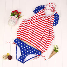 Women Bikini Set Flag Printed Swimwear Red Striped Push-Up Padded American Flag Bra one piece Swimsuit Beachwear #E0