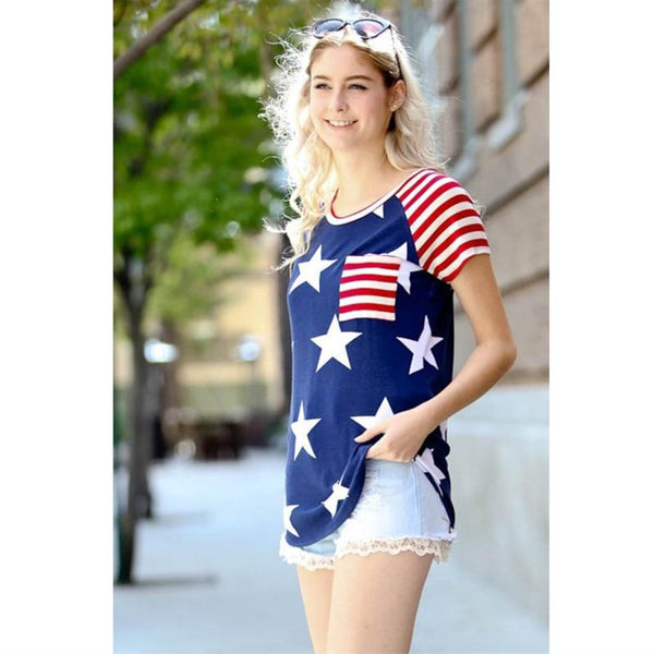 Women's American flag element star print round neck short-sleeved Labor Days Gift