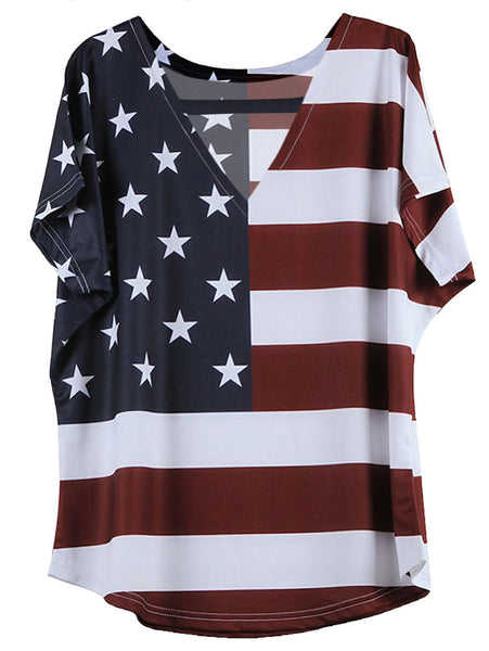 Women's American Flag Stars and Stripes Pattern July 4th Patriotic Short Sleeve Loose Blouse Tops T shirts