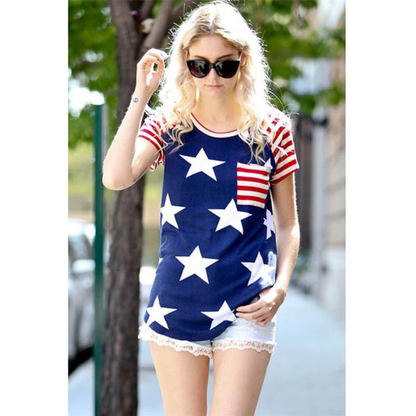 Women's American Flag Stars and Stripes Pattern July 4th Patriotic Short Sleeve Tops T shirts