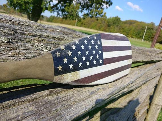 "Wood American Flag, American Flag Oar - 48"" - Oars, Decorative Cottage Gift, Nautical Decor, Wooden Canoe Paddle, Wedding Gift, Wall Hanging"