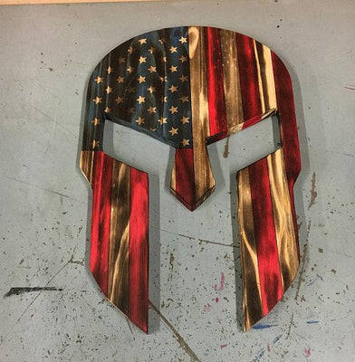 Wood Spartan Helmet - Man Cave Decor - Wood American Flag - Rustic Wall Art - Patriotic Wall Art - Wooden Spartan - Charred Wood Helmet