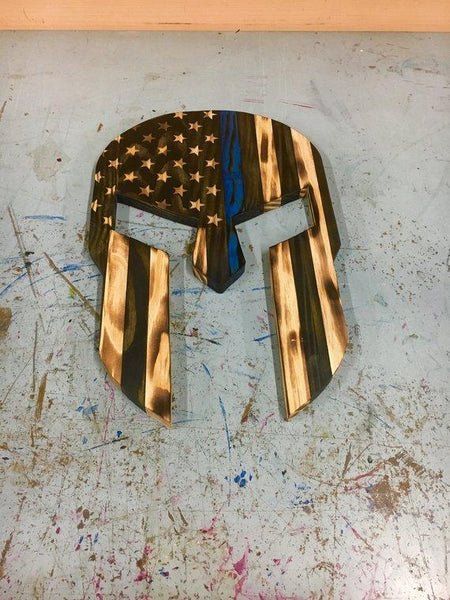Wood Spartan Helmet - Thin Red Line - Wood American Flag - Thin Blue Line - Patriotic Wall Art - Wooden Spartan - Charred Wood Helmet