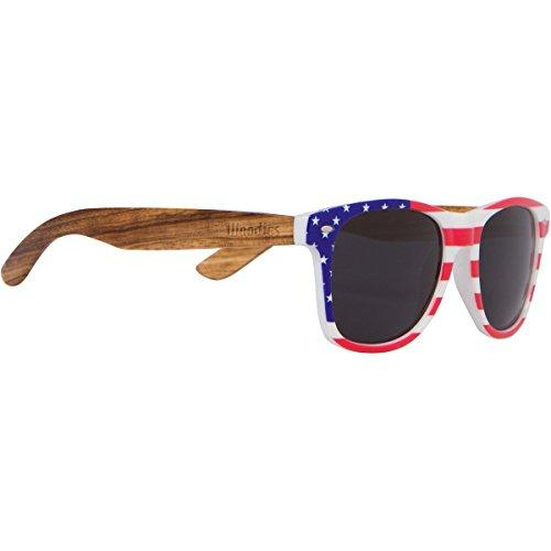 WOODIES Zebra Wood Sunglasses with American Flag Frame