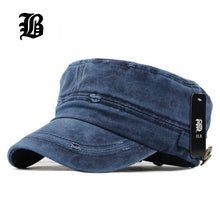 [FLB] 2016 Classic Vintage Flat Top Mens Washed Caps And Hat Adjustable Fitted Thicker Cap Winter Warm Military Hats For Men