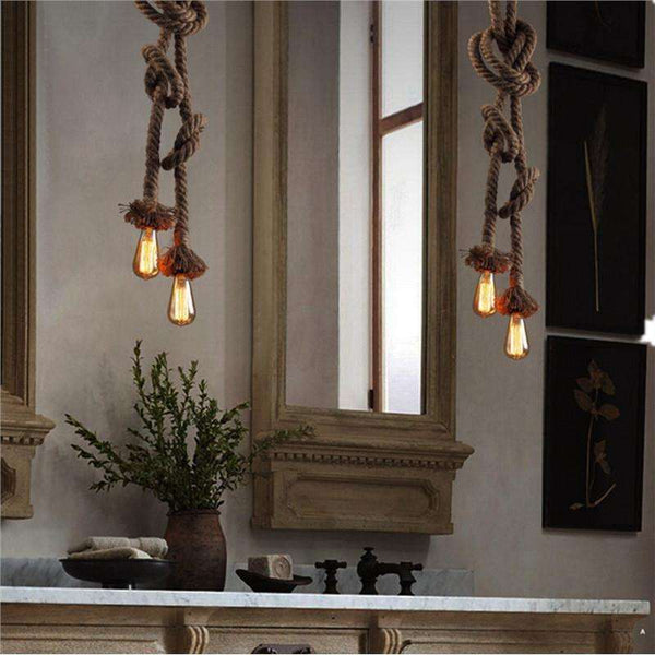 1.5M Rural Hemp Rope Chandelier Lamps American Style Pendant Lamp (Bulb not Included)