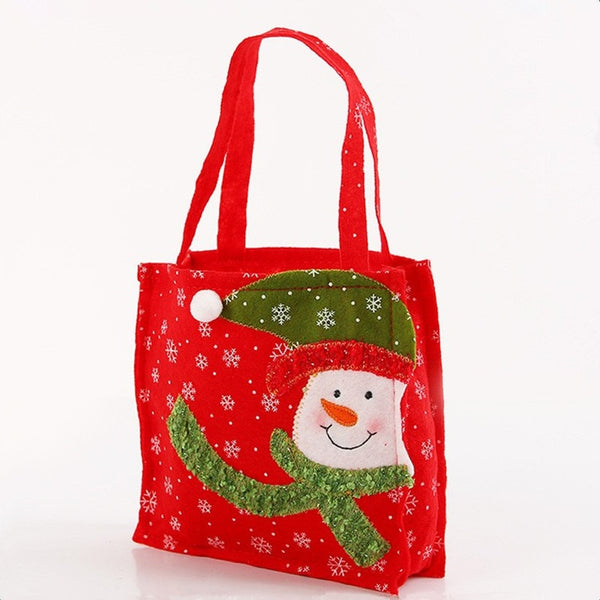 16 * 16 cm Colorful Christmas Tree Santa Claus Snowman Pattern Candy Bag Handbag Home Party Decoration Gift Bag Christmas