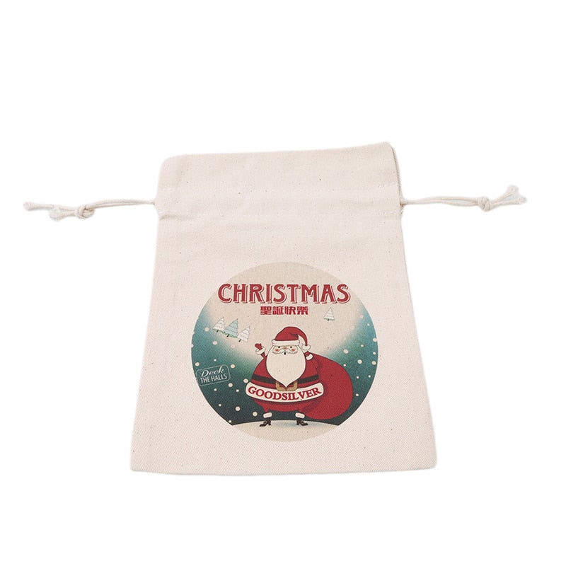 1PC 2017 New Year Christmas Candy Bag Santa Claus Drawstring Canvas Sack Tableware Rustic Vintage Stockings Gift Bag GI899499