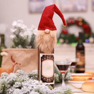 1PC Christmas Santa Claus Knitting Red Wine Bottle Cover For Bar Xmas Snowman Bottle Bag Decoration Dinner Table Decor For Home
