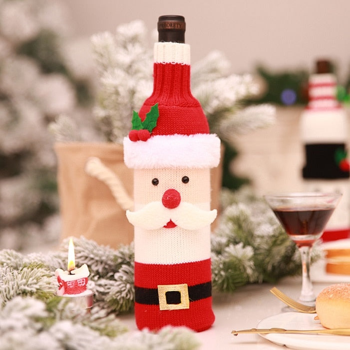 e8c673401a 1PC Christmas Santa Claus Knitting Red Wine Bottle Cover For Bar Xmas  Snowman Bottle Bag Decoration .