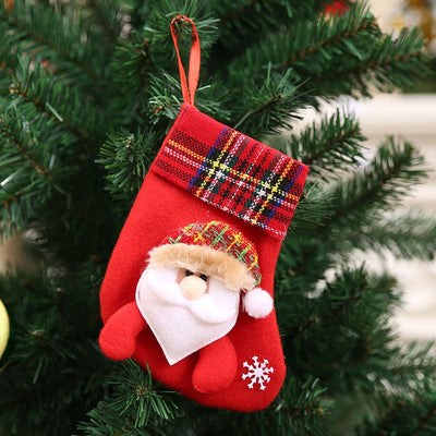 1PC Christmas Stockings Hanging Christmas Tree Decoration Ornaments New Year Candy Bag Gifts Socks Stocking Xmas Ornament S35