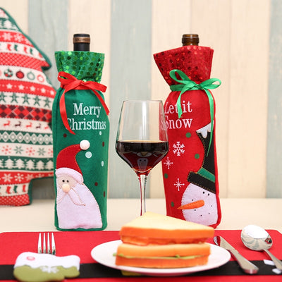 1Pc Christmas Gift Wrap Storage Merry Christmas Wine Holder Bags 2 Designs Hotel Christmas Decoration Best Present