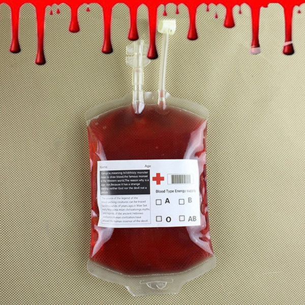 1Pc300ML Transparent Clear Blood Bag Pvc Reusable Blood Energy Drink Bag Halloween Decoration Pouch Props Vampire Party Supplies