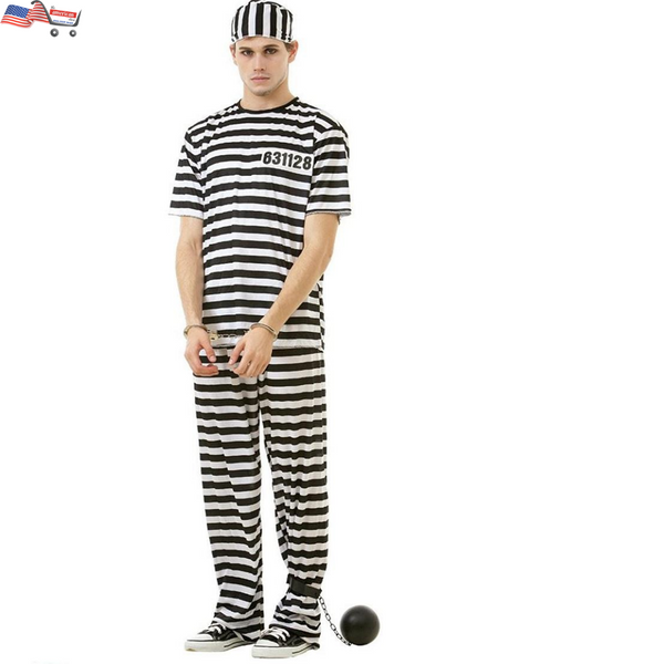 Umorden Carnival Party Halloween Prisoner Costume for Men Women Kids Child Family Violent Prisoner Costumes Fancy Dresses Set