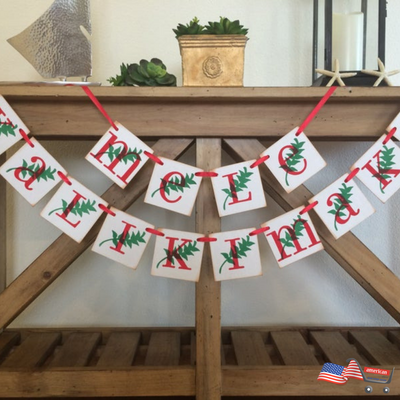 Mele Kalikimaka Banner | Hawaiian Merry Christmas Sign |Christmas Card Garland Banner Tropical Holiday