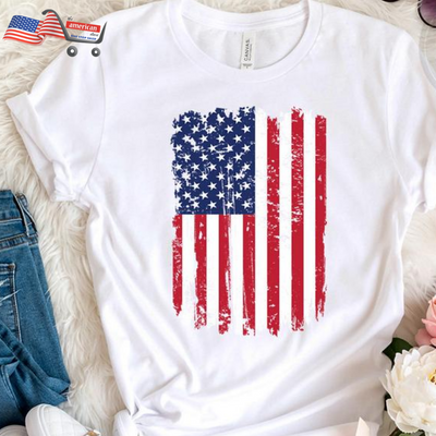 4th of July Women's Summer T Shirts Ladies Causal American Flag Independence Day Short Sleeve Hem Split Shirt camisas mujer 2019