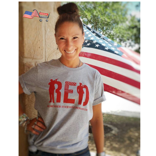 RED T-shirt Remember Everyone Deployed Labor day |  Veterans Day Military T-shirt