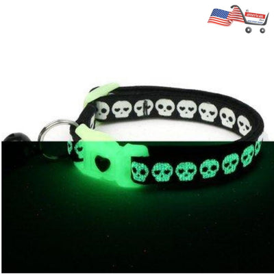 Glowing Skulls Cat Collar on Black | Small and Large Cat / Kitten Collar | Glow in the Dark