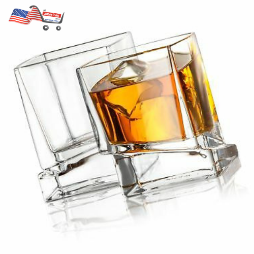 JoyJolt Carre Square Old Fashioned Scotch & Ultra Clear Whiskey Glasses for Bourbon & Liquor Set Of 2 Glassware