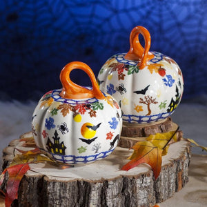 "5.5"" Small Halloween Polish Pottery Pumpkin 