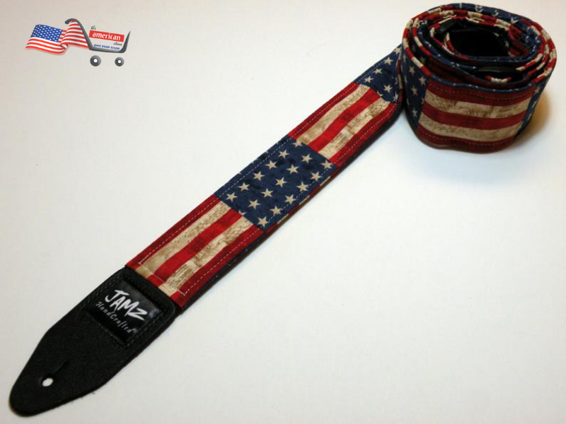 STARS & STRIPES handmade double padded guitar strap - America - Patriotic - American Flag