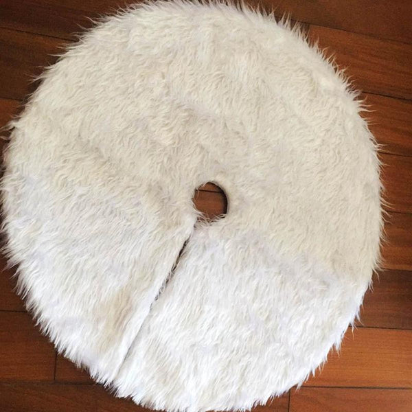 1pc White Plush Christmas Tree Skirts Fur Carpet Merry Christmas Decoration for Home Natal Natal Tree Skirts New Year Decoration