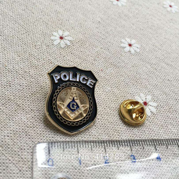 1pc Masonic Lapel Pin Brooch Freemasonry crafted in the shape of a police badge with cutout square and compass inside the badge