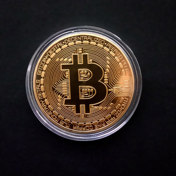 1pcs Gold Plated Bitcoin Coin Collectible Art Collection Gift Physical Onlineamericanstore