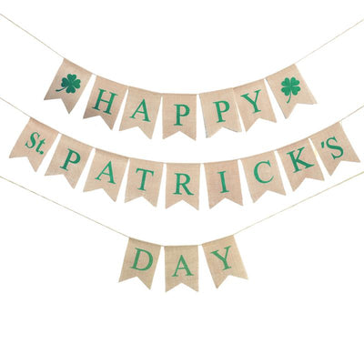 2.8 Meters ST. PATRICKS DAY Burlap Banners Irish Shamrock Four Leaf Clover Garland Decor St.Patrick Day Decorations