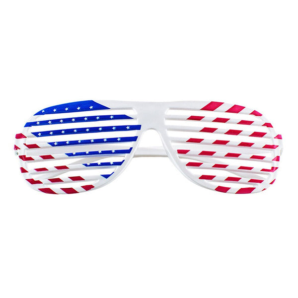 2 Pairs Of Patriotic 4th Of July American Flag Shutters Glasses Plastic Eyewear Shutter Shades Sunglasses Party Photobooth Props