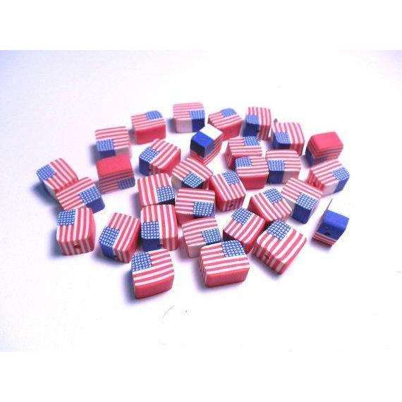 20 Fimo Polymer Clay Square Beads American USA Flag Stars Red Blue