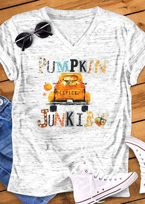 2018 Halloween Fashion Women T-Shirt Short Sleeve Pumpkin Spice Junkie Letter Truck Print V-Neck Cute T-Shirt Ladies Tops Tee